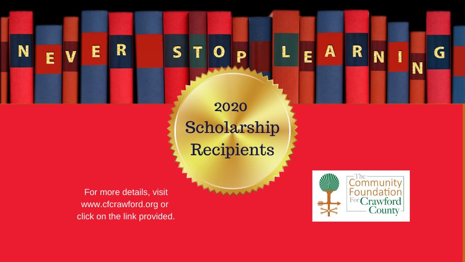 2020 Scholarship Recipients FB Post