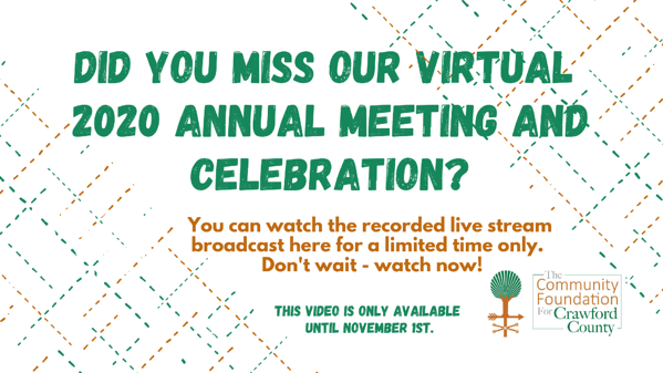 Watch our recorded live stream broadcast 2020 Annual Meeting and Celebration