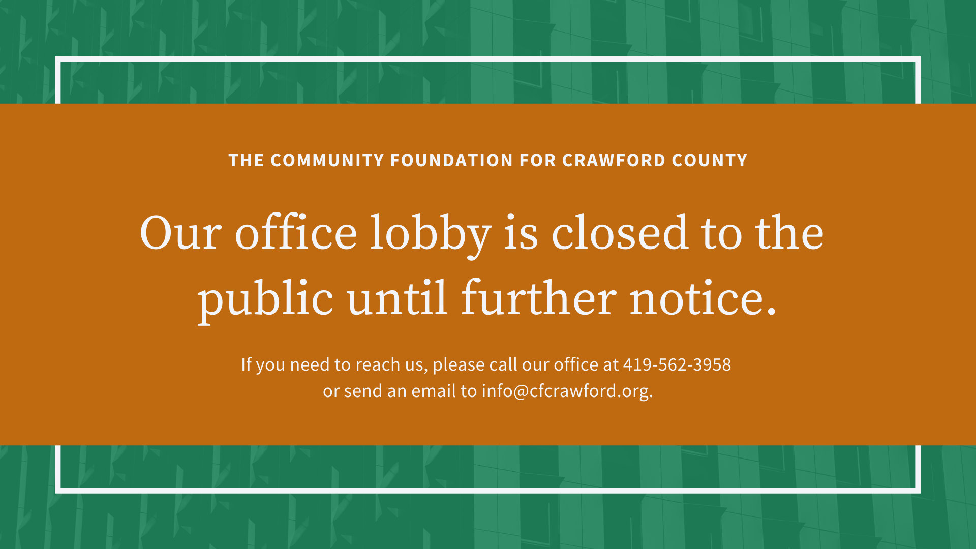 2020 Office lobby closed to the public notice
