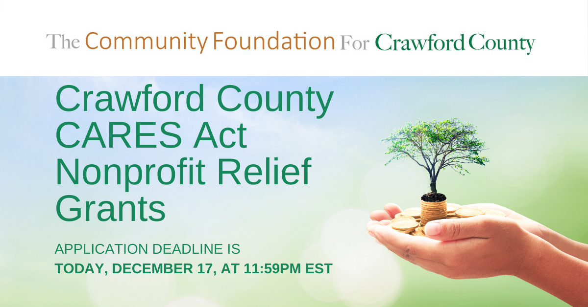 2020 Crawford County CARES Act Nonprofits Relief Grant Application Deadline Facebook Ad