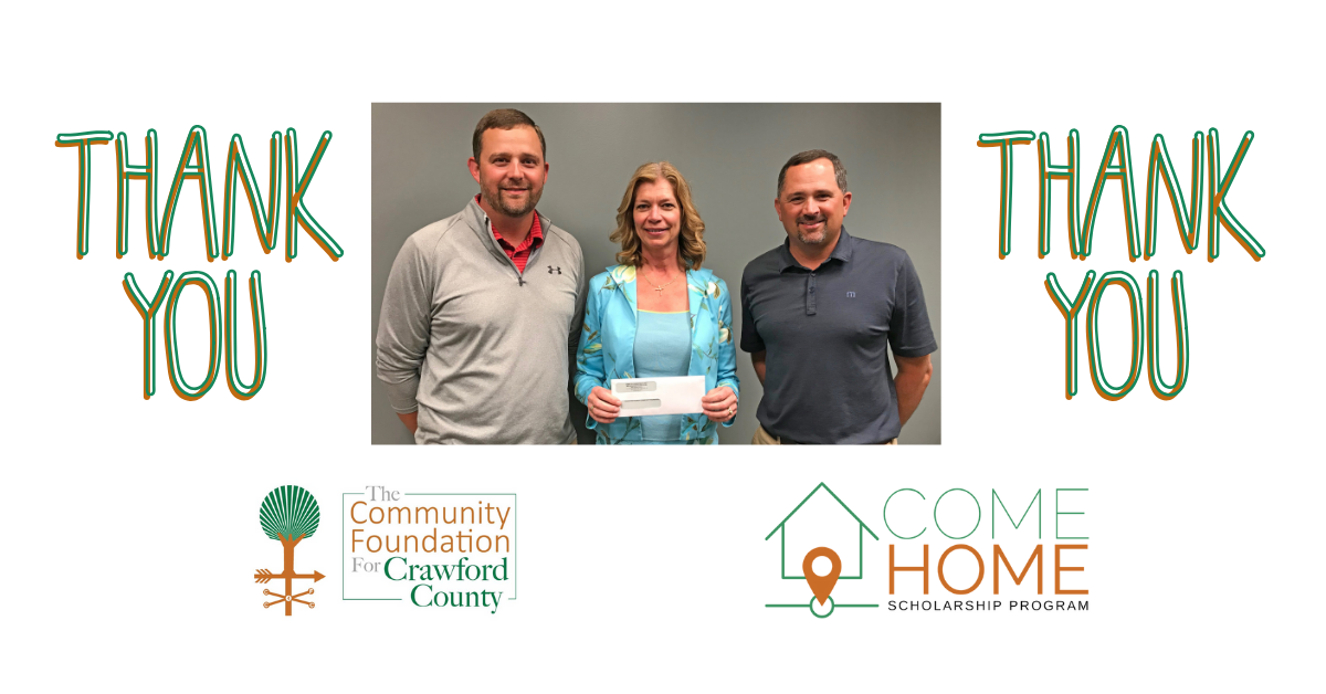 Presentation of Come Home Scholarship Check from Coopers Mill