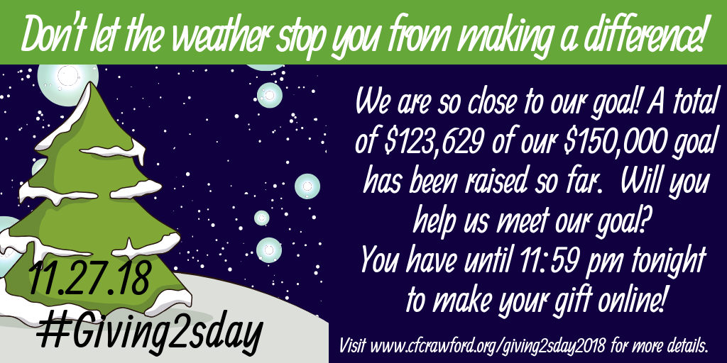 2018 #Giving2sday Don't let the inclement weather shop you from making a difference!