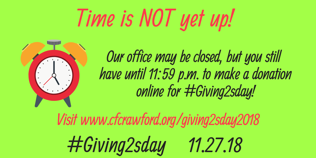 2018 #Giving2sday Time is not yet up!